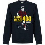 Barcelona Tröja Messi 400 Goals Sweatshirt Lionel Messi Mörkblå S