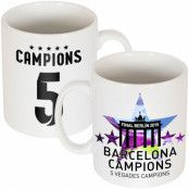 Barcelona Mugg 5 Star Winners Lionel Messi Vit