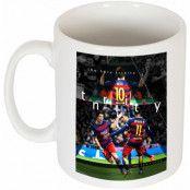 Barcelona Mugg The Holy Trinity Neymar Vit
