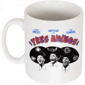 Barcelona Mugg Three Amigos Lionel Messi Vit