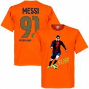 Barcelona T-shirt Messi 91 World Record Goals Lionel Messi Orange XS