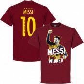 Barcelona T-shirt Messi No 10 Five Time Ballon dOr Winner Lionel Messi Röd S