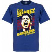 Barcelona T-shirt Portrait Luis Suarez Blå S