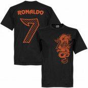 Real Madrid T-shirt Cristiano Ronaldo 7 Dragon Svart/Orange XS