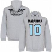Argentina Huvtröja Maradona No10 Quote Diego Maradona Grå S