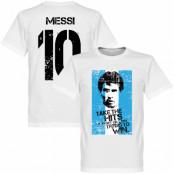 Argentina T-shirt Messi 10 Flag Lionel Messi Vit XS