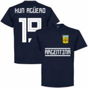 Argentina T-shirt Kun Aguero 19 Team Sergio Aguero Mörkblå S