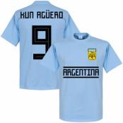 Argentina T-shirt Kun Aguero 9 Team Sergio Aguero Ljusblå XS