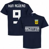 Argentina T-shirt Kun Aguero 9 Team Sergio Aguero Mörkblå S