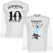 Argentina T-shirt Maradona No10 Long Sleeve Diego Maradona Vit S