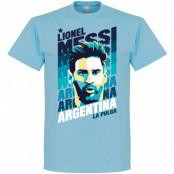 Argentina T-shirt Messi Portrait Lionel Messi Ljusblå XS