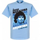 Argentina T-shirt Portrait Diego Maradona Ljusblå XS