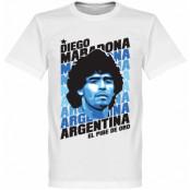 Argentina T-shirt Portrait Diego Maradona Vit XS