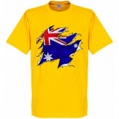 Australien T-shirt Ripped Flag Barn Gul 2 år