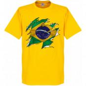 Brasilien T-shirt Brazil Ripped Flag Barn Gul 2 år