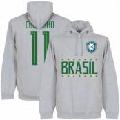 Brasilien Huvtröja Brazil Coutinho 11 Team Philippe Coutinho Grå S