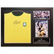 Brasilien Signerad Fotbollströja Pele