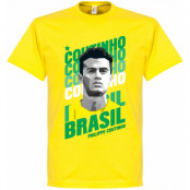 Brasilien T-shirt Coutinho Portrait Philippe Coutinho Gul XS