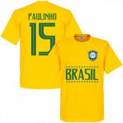Brasilien T-shirt Paulinho 15 Team Gul XS