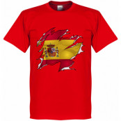 Spanien T-shirt Ripped Flag Röd XS