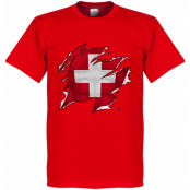 Spanien T-shirt Switzerland Ripped Flag Röd XS