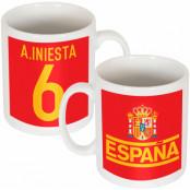 Spanien Mugg AIniesta Team Andres Iniesta Röd