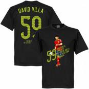 Spanien T-shirt 59 Goals David Villa Svart XS