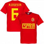 Spanien T-shirt A Iniesta 6 Team Andres Iniesta Röd XS