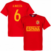 Spanien T-shirt A Iniesta Team Andres Iniesta Röd XS