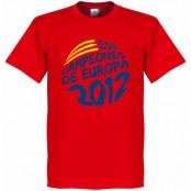 Spanien T-shirt Winners 2012 Campeones De Europa Circle Graphic Röd S