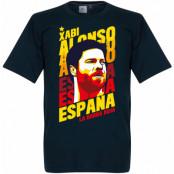 Spanien T-shirt Xabi Alonso Portrait Mörkblå S