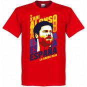 Spanien T-shirt Xabi Alonso Portrait Röd XS
