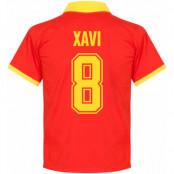 Spanien Tröja 1970s Home Xavi Retro Shirt Xavier Hernandez i Creus Röd S