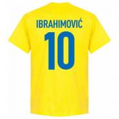Sverige T-shirt Ibrahimovic 10 Gul S