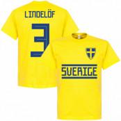 Sverige T-shirt Lindelof 3 Team Gul S
