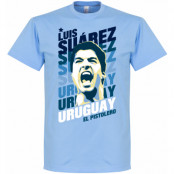 Uruguay T-shirt Portrait Luis Suarez Ljusblå XS