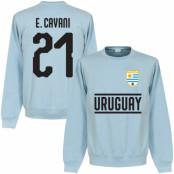 Uruguay Tröja Cavani 21 Team Sweatshirt Ljusblå S