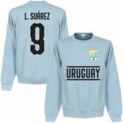 Uruguay Tröja Suarez 9 Team Sweatshirt Luis Suarez Ljusblå S