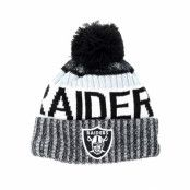 Mössa Oakland Raiders Sport Knit Black Pom - New Era - Grå Tofs