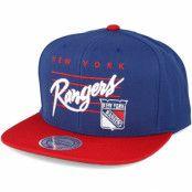 Keps New York Rangers Cursive Script Logo Blue Snapback - Mitchell & Ness - Blå Snapback
