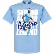 Manchester City T-shirt Legend Sergio Aguero Ljusblå XS
