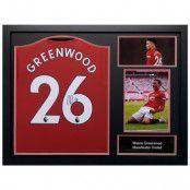 Manchester United Greenwood Signerad Tröja Inramad