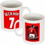 Manchester United Mugg Beckham No7 David Beckham Vit