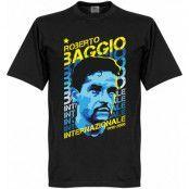 Inter T-shirt Roberto Baggio Portrait Svart M