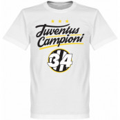 Juventus T-shirt Campioni 34 Crest Vit XS